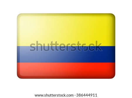 The Colombian flag. Rectangular matte icon. Isolated on white background. - stock photo