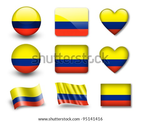 The Colombian flag - set of icons and flags. glossy and matte on a white background. - stock photo