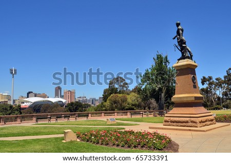 The Colonel Light statue pointing out across the city of Adelaide in South Australia. - stock photo