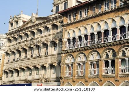 The colonial buildings at Mumbai, India - stock photo