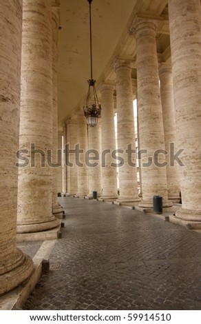 The Colonnade in the front of the St. Peter's Basilica (Basilica di San Pietro) in Vatican, Rome, Italy. - stock photo