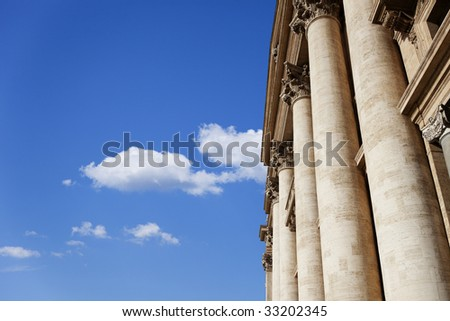 The Colonnade located in the front of the St. Peter's Basilica in Vatican.