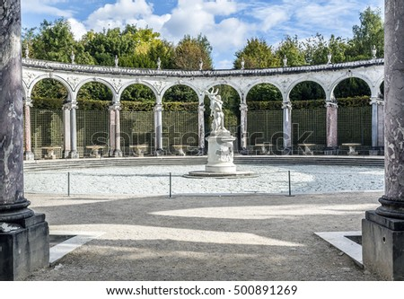 The Colonnade Versailles estate. FRANCE. October 2016. Built from 1685 by Jules Hardouin-Mansart, the Colonnade replaced a grove designed by Le Notre in 1679.