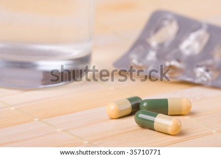 the color capsules on table