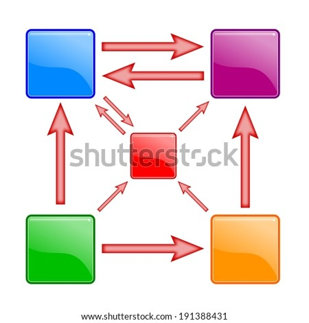 The color diagram with squares and arrows - illustration - stock photo