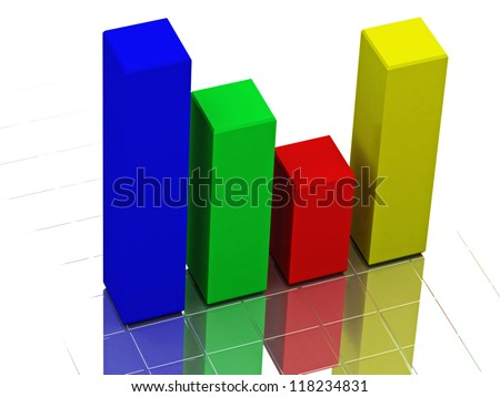 The color graph on a white background - stock photo