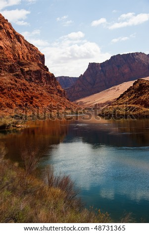 The Colorado River at the bottom of the Grand Canyon - stock photo