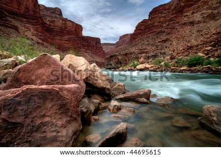 The Colorado River in the Grand Canyon - stock photo