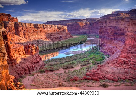 The Colorado River that runs through Canyonlands National Park is located near the city of Moab, Utah.  Processed using HDR. - stock photo