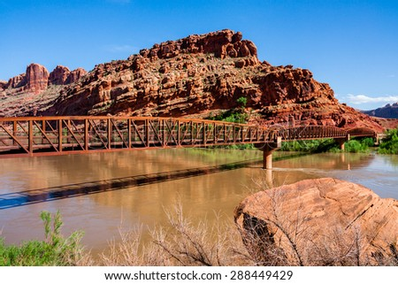 The Colorado Riverway Bridge in Moab Utah - stock photo