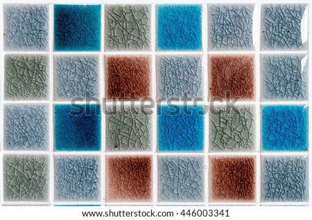 The colorful clay ceramic tile with shiny surface (coating) Grey,Light Blue,and Red brown, products of the northern Thailand  - stock photo