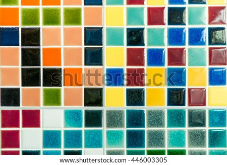 The colorful clay ceramic tiles with glazed surface (coating) in Mixing color, products of the northern Thailand  - stock photo