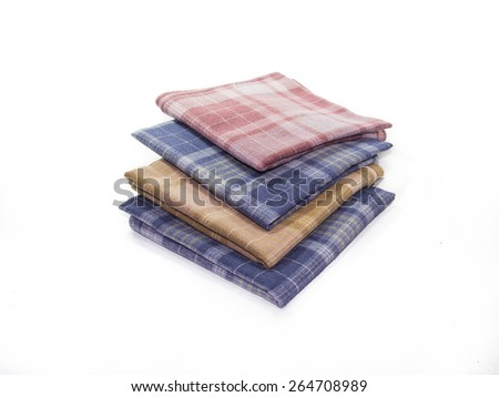 The colorful handkerchief on the white background - stock photo
