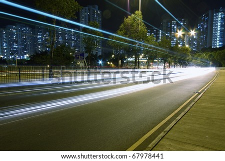 The colorful lights on highway of Hong Kong - stock photo