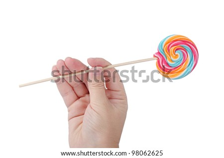 The colorful lollipop isolated on the white - stock photo