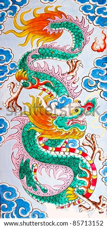 The Colorful of old painting dragon on the wall of chinese temple in thailand - stock photo