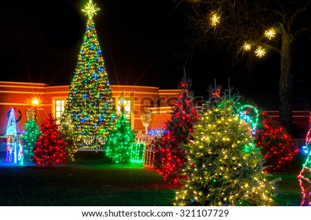 The colorful outdoor Christmas display in Strongsville, Ohio - stock photo
