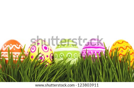The colorful painted Easter eggs - stock photo