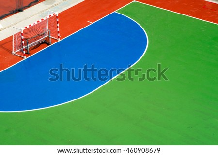 The Colorful patterns of the outdoor mini football court