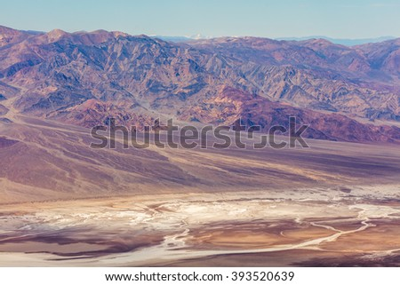 The colorful rocks located near Dante's View, Death Valley National Park. An abundance of natural beauty. Dramatic panoramic view.  - stock photo