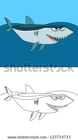 The coloring page - shark - illustration for the children - stock photo