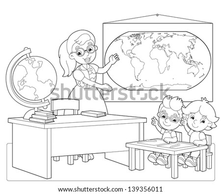 Coloring Page Classroom Illustration Children Stock Illustration 139356020