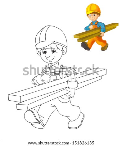 The coloring plate - construction worker - illustration for the children - stock photo