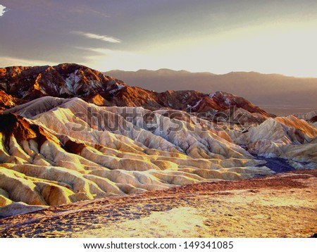 The colors of the sunset in Death Valley  - stock photo