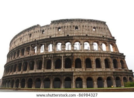 The Coloseum of Rome- over white - stock photo