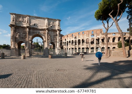 The Colosseum and the Arch of Constantine - stock photo