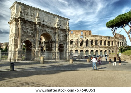 The Colosseum and The Arch of Titus in  Rome, hdr picture - stock photo