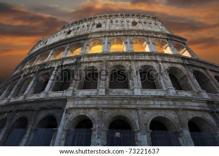 The Colosseum at a sunset, Rome, Italy. - stock photo