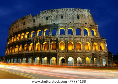 The Colosseum at dusk - stock photo