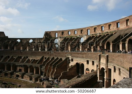 The Colosseum, famous ancient ampitheater in Rome, Italy. Unesco World Heritage site