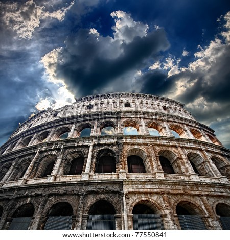 The Colosseum, flaming arena - stock photo
