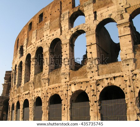 The Colosseum in Rome  sky blue  - stock photo