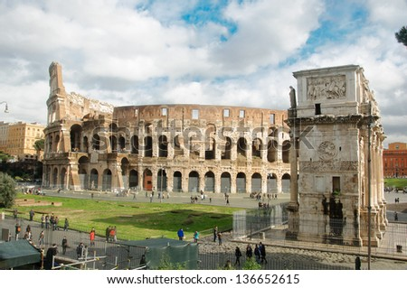 The Colosseum or Coliseum, also known as the Flavian Amphitheatre, in Rome