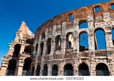The Colosseum or Coliseum, Rome, Italy, also known as the Flavian Amphitheatre is an elliptical amphitheatre. Built of concrete and stone it is the largest amphitheatre in the world.