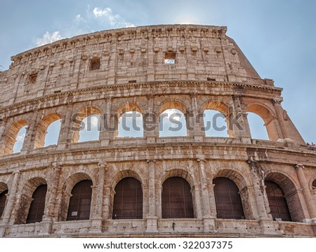 The Colosseum or Flavian Amphitheatre - an amphitheater, an architectural monument of ancient Rome. Italy.