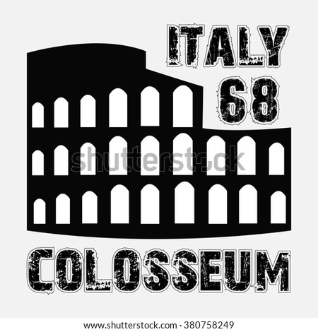 the Colosseum Roma Italy fashion design print for t-shirt - stock photo