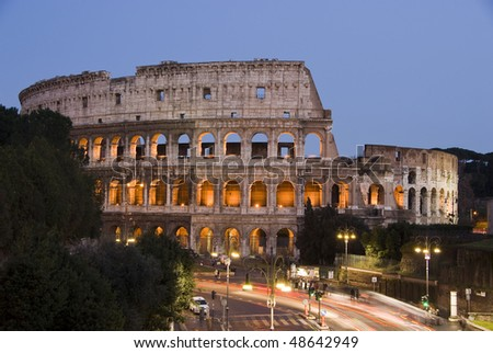 The Colosseum, Rome at dusk - stock photo
