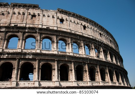 The Colosseum, the world famous landmark in Rome, Italy