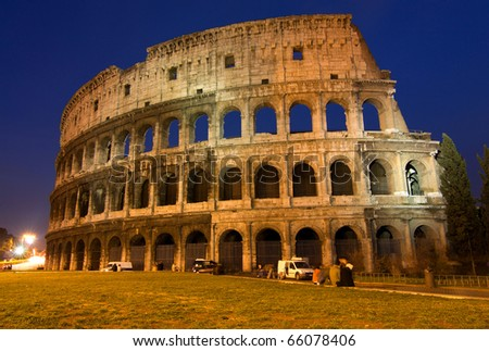 The Colosseum, the world famous landmark in Rome. Night view