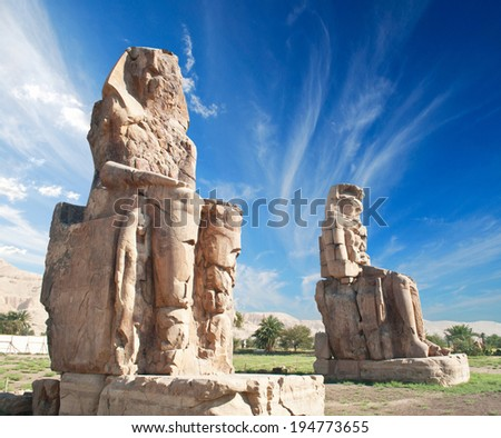 The Colossi of Memnon, Egypt.  - stock photo