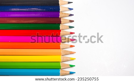 The colour pencils in white background.