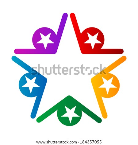 The coloured star, Abstract design element on white background