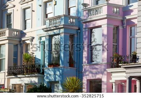 The colourful properties near Portobello Road Market  - stock photo