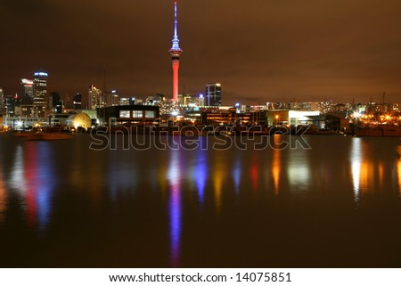 The Colours of Auckland City at Night - stock photo