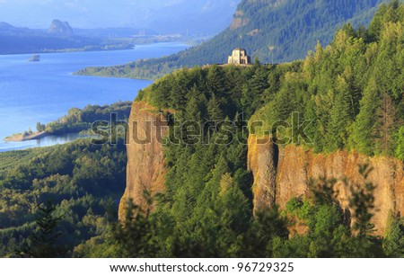 The Columbia River Gorge & Crown point. - stock photo