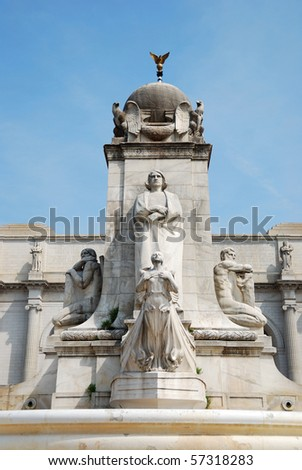 The Columbus Statue in front of Union station, Washington DC. - stock photo